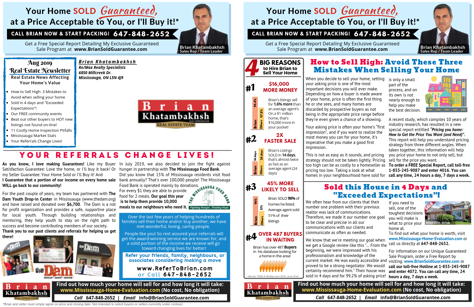 Brian Khatambakhsh Real Estate Team August Newsletter Page 1