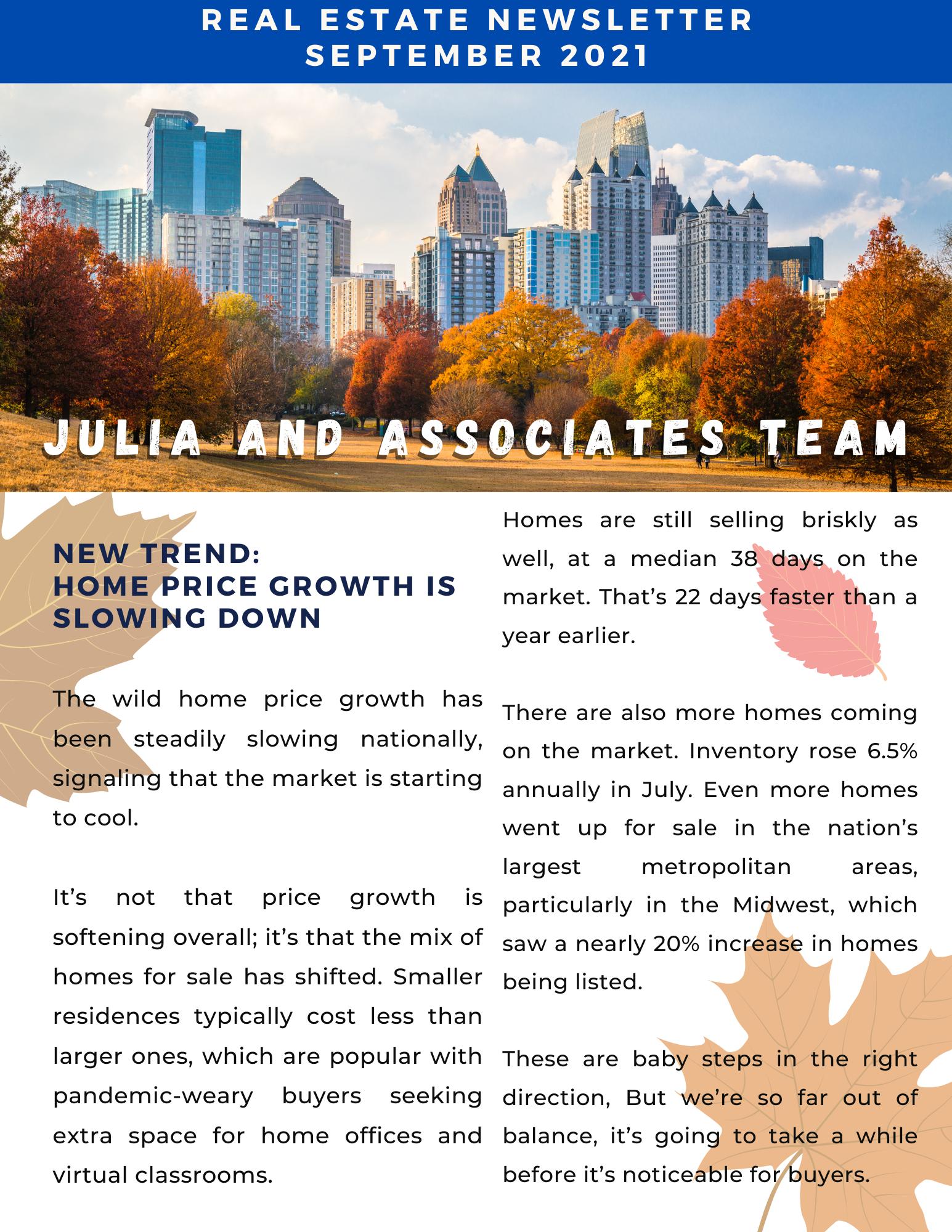 September 2021 Newsletter Julia and Associates Team