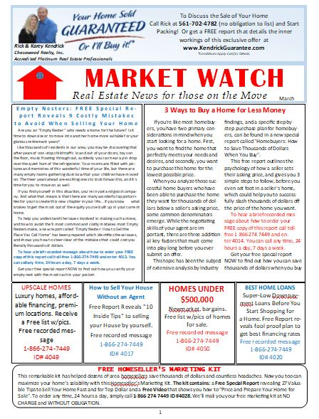 Rick Kendrick Team North Palm Beach realtors Market Watch Newsletter