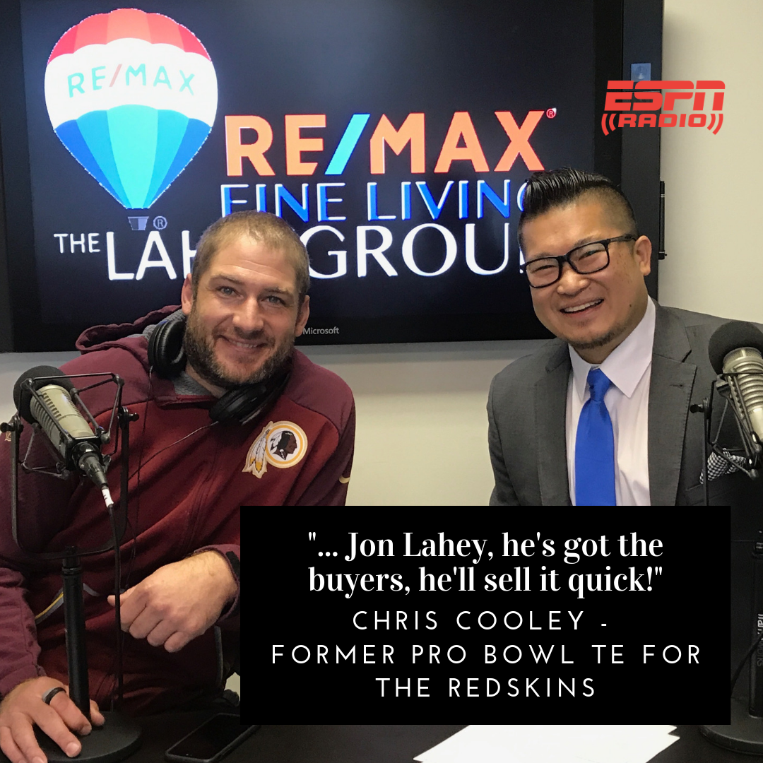 Chris Cooley Former Pro Bowl TE for Redskins Endorses Jonathan Lahey Real Estate Agent and Team - Love Your Home Guaranteed or We'll Buy It Back!