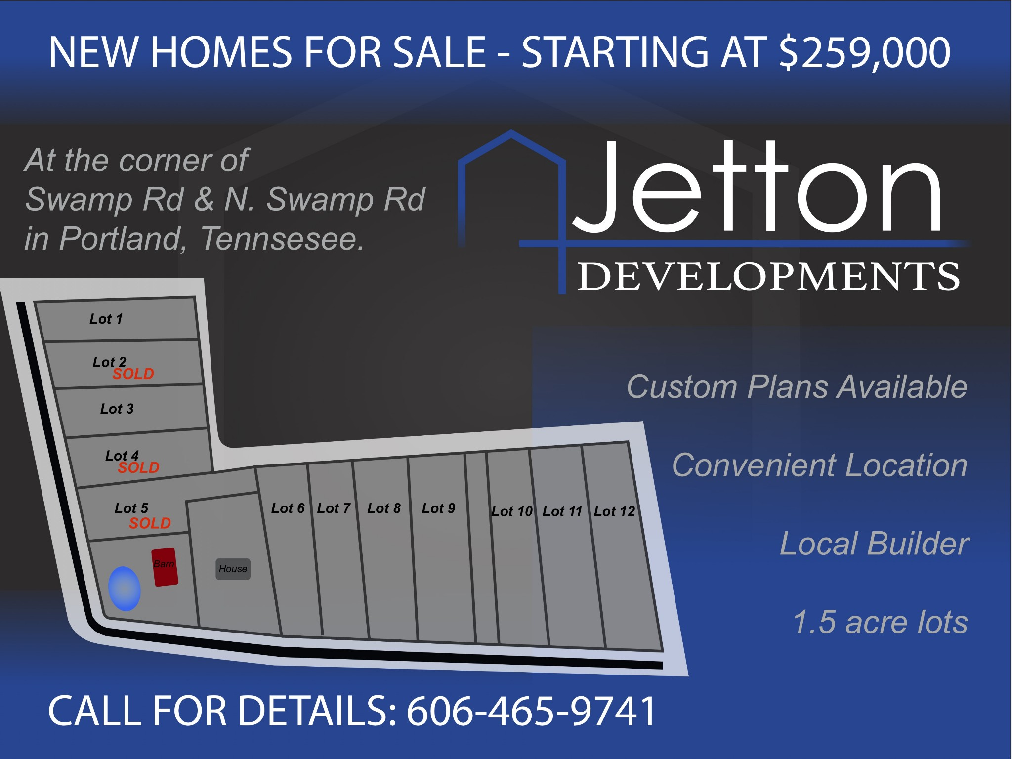 3 BR/2 BA New Construction Home On 1.31 Acre Lot!  290 N. Swamp Rd., Portland, TN.  37148