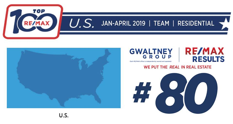 Gwaltney Group - #80 in the RE/MAX Top US Residential Teams during Jan-April 2019