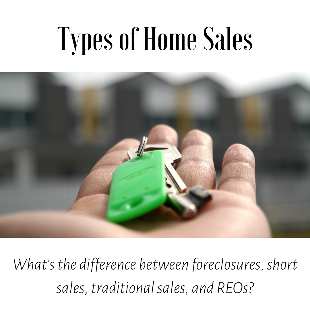 What is the difference between short sales, foreclosures, REOs, and traditional sales?