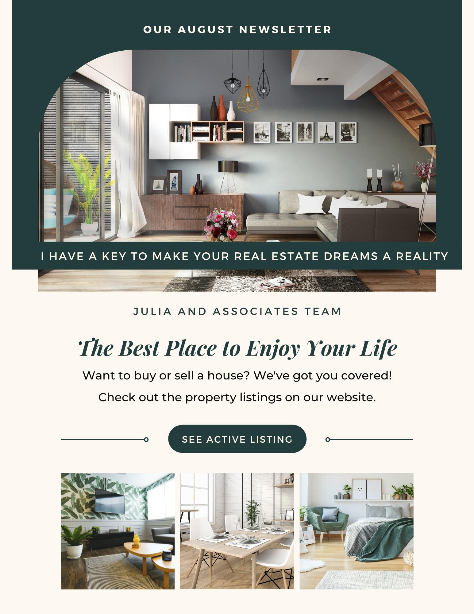August 2021 Newsletter Julia and Associates Team
