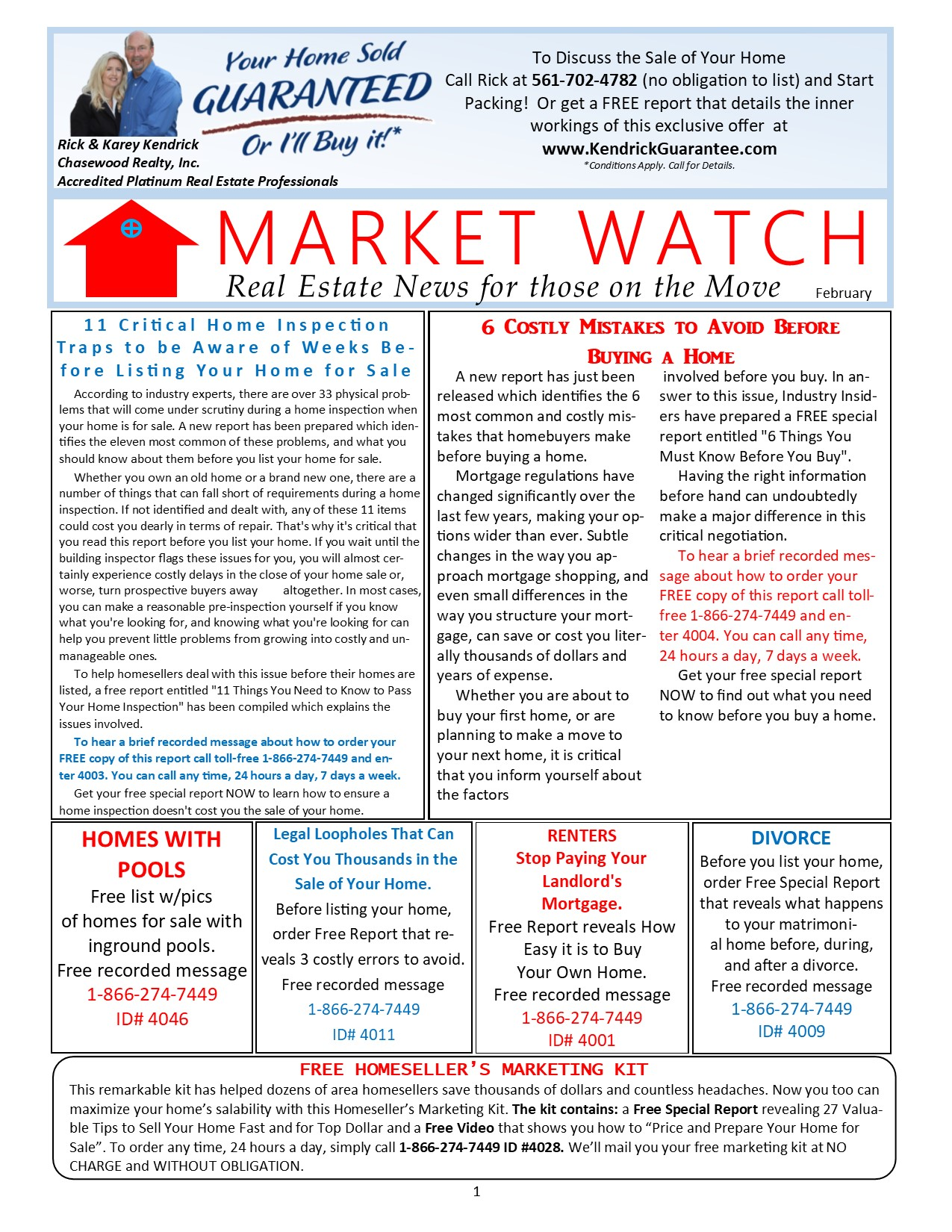 Market Watch Newsletter Rick Kendrick Team Palm Beach Realtors