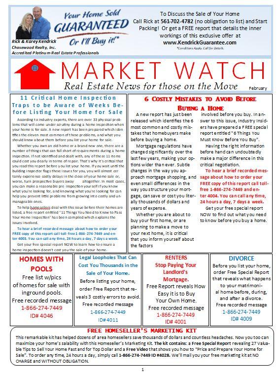 Rick Kendrick North Palm Beach Realtor Newsletter