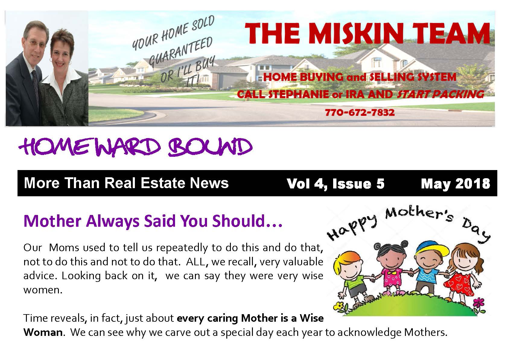 Home'Ward Bound Monthly Miskin Team Newsletter May 2018