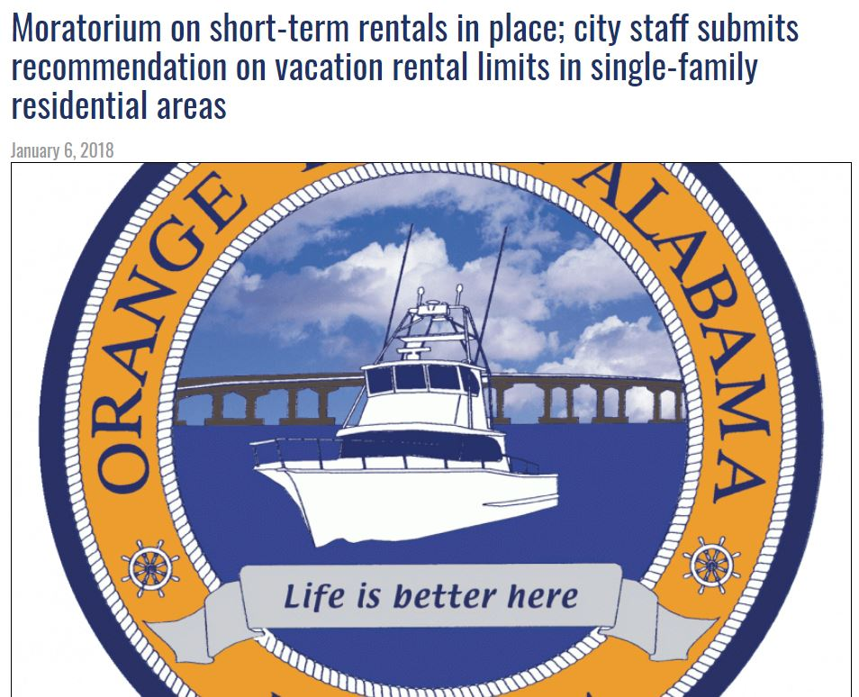 Orange Beach - Wanting to Buy a Rental in Orange Beach!?  Read this FIRST! Moratorium on short-term rentals