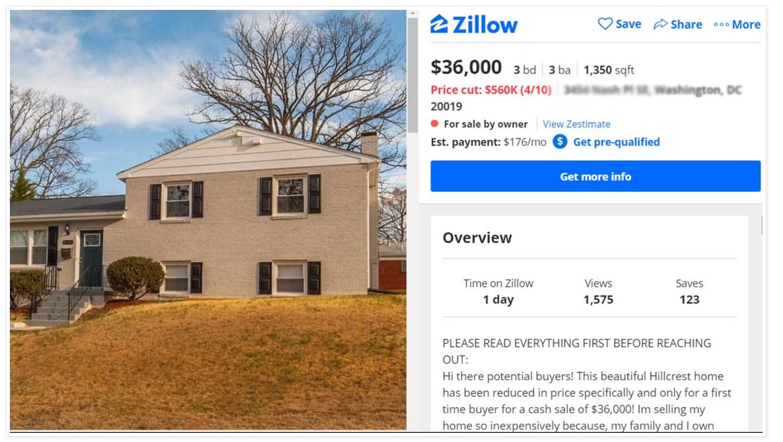 Hey Buddy! Wanna buy a 3 bedroom 3 bath in DC for $36K?