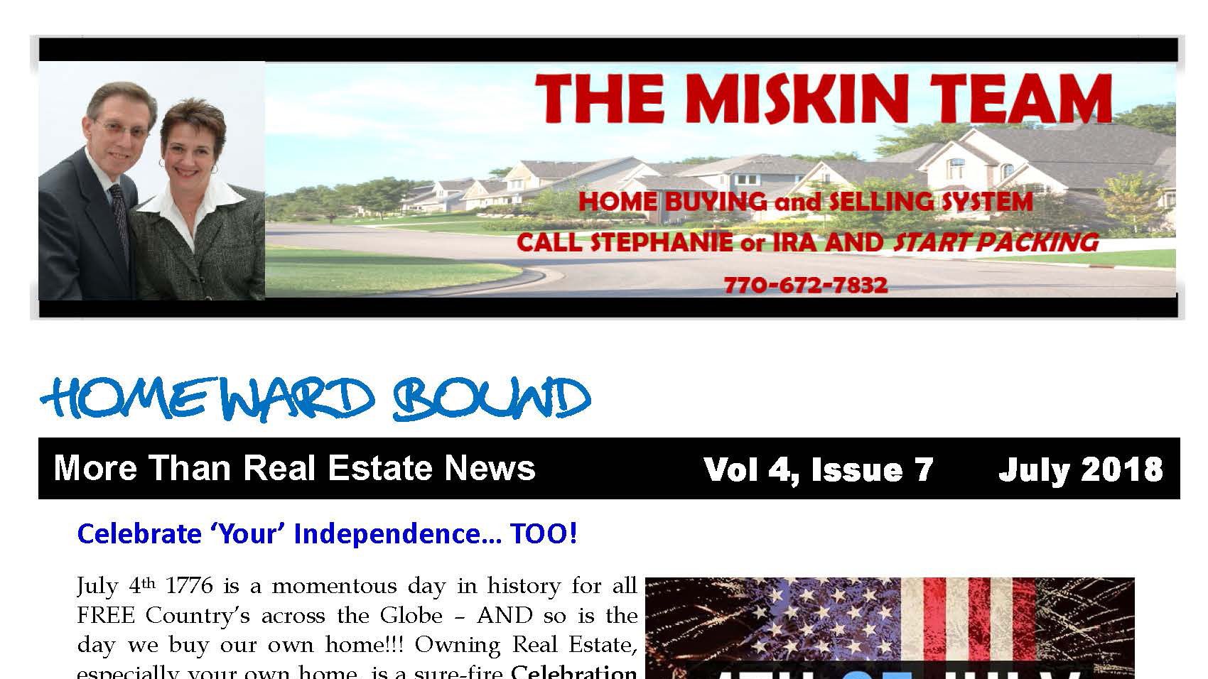 Home'Ward Bound Monthly Miskin Team Newsletter July 2018