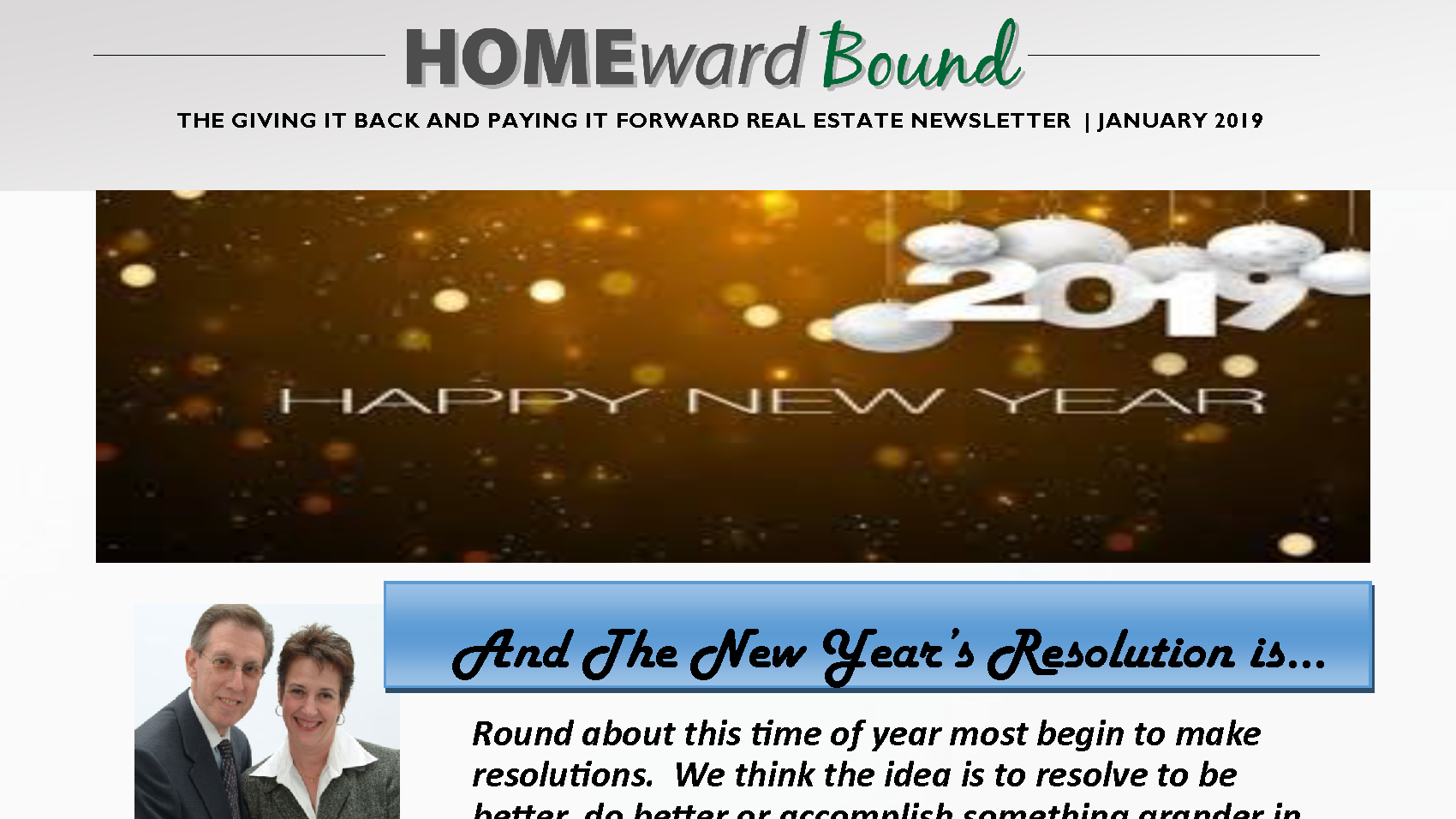 Home'Ward Bound Monthly Miskin Team Newsletter January 2019