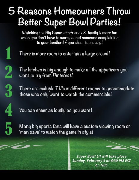 5 Reasons Homeowners Can Throw Better Super Bowl Parties! [INFOGRAPHIC]?